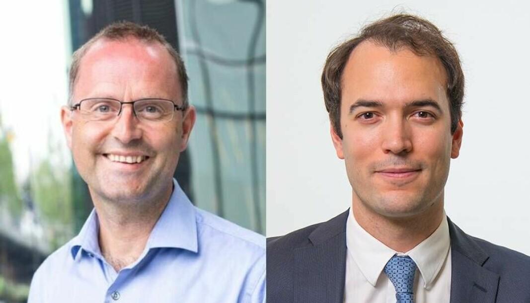Lars Erik Fjørtoft i PwC og Thierry Morin i Capgemini mener begge at vi vil se omfattende konsolidering på betalingsinfrastruktur og at Norge over tid vil få det vanskelig å bruke en egen avregning bare for norske kroner.