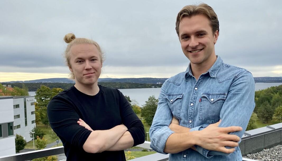 Morten Hillbom og Petter Reistad i Celsia på taket av Energy Valley på Fornebu. Herifra bygger de en løsning som de mener vil gjøre EU-taksonomien enkel for bedrifter å forholde seg til