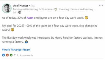 Axel Hunter setter nye mål på LinkedIn