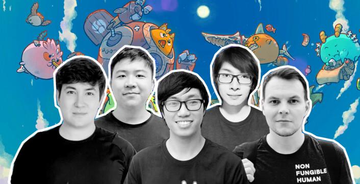 Medgründerne i Sky Mavis, Nguyen Thanh Trung, Doan Minh Tu, Ho Sy Viet Anh, Jeffrey Samuel Kim Zirlin, og norske Aleksander Larsen helt til høyre.