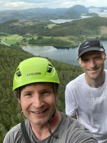 Defigo-gründer Joachim Stray samarbeider med klatreguru Runar Carlsen om ny klatreteknologi.