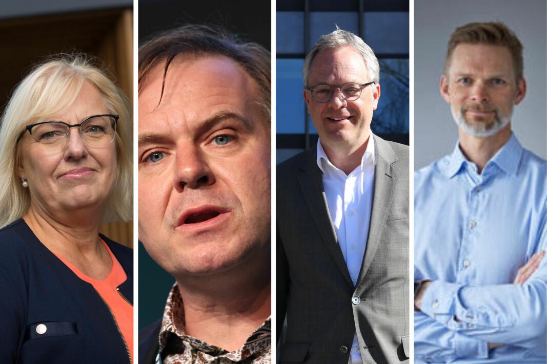 Leder av Finansforbundet, Vigdis Mathisen, Venstre-politiker Alfred Bjørlo, Abelia-sjef Øystein Eriksen Søreide og IKT Norge-sjef Øyvind Husby.